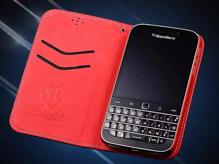 superior quality a0b85 93aae 100% Cow Leather BlackBerry Classic Q20 Flip Case Cover Casing + Gift