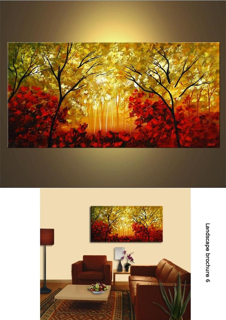100% hand painted Landscape oil painting  225 x 90 cm
