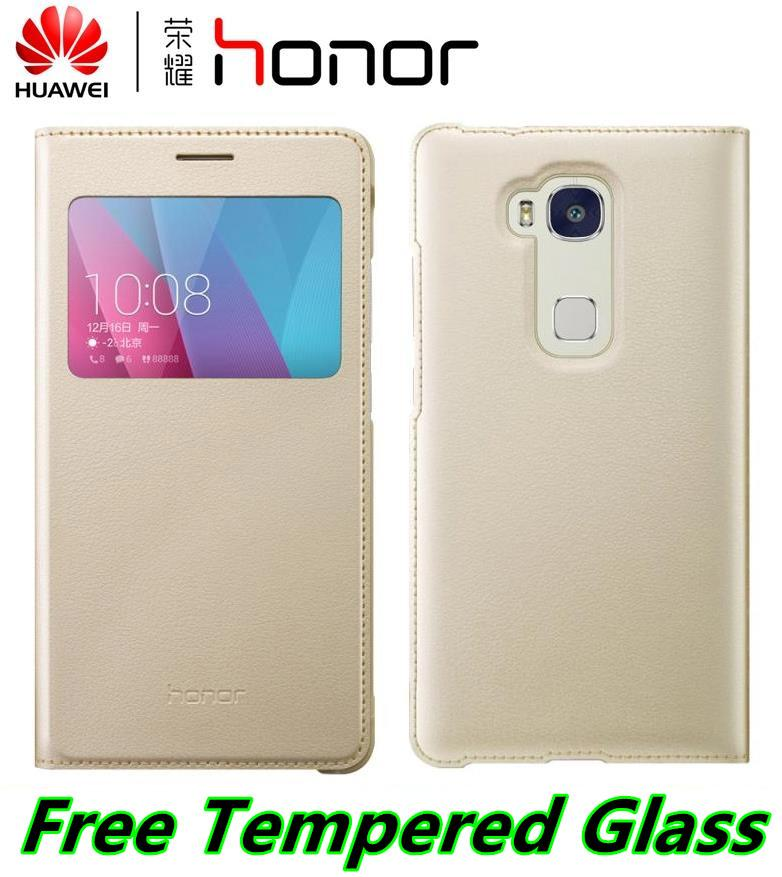 reputable site 05f2a 7ab01 100% Huawei Honor 5X Play Flip Smart Case Cover Casing +Tempered Glass