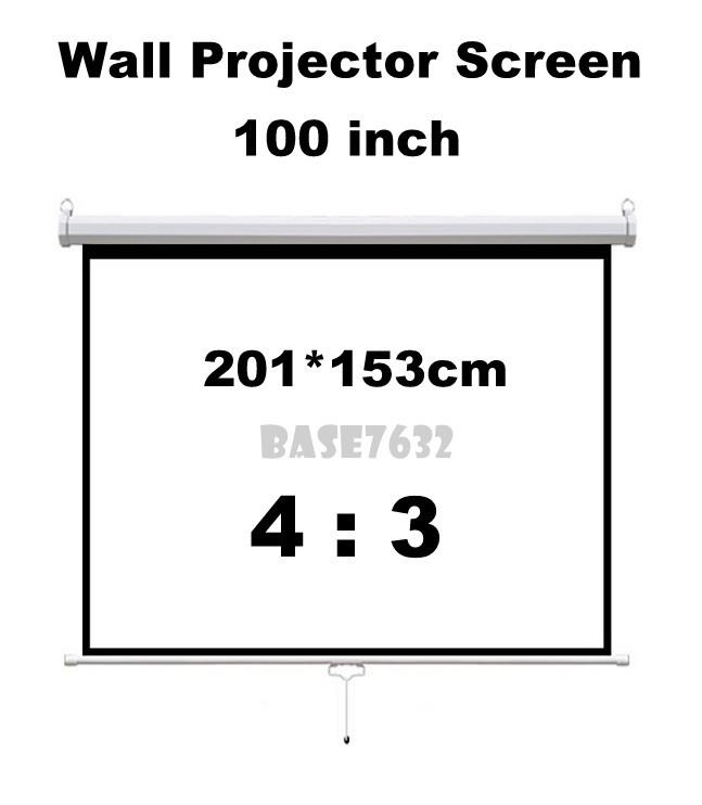 100 inch 2*1.5m / 7'' x 5''  Wall Hand Pull Projector Screen 4:3 2242.1