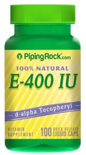 100% Natural Vitamin E 400IU, D Alpha Tocopheryl, 100 caps (USA)