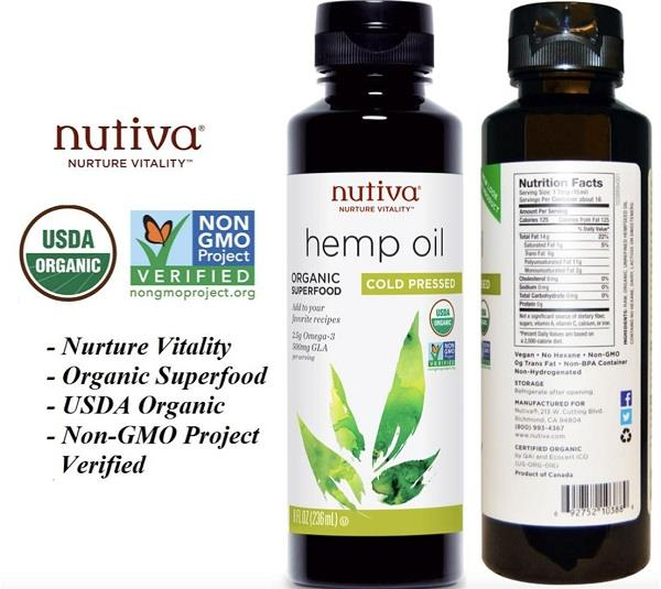 100% Organic Hemp Oil, Cold Pressed, 236 ml (Made in USA)