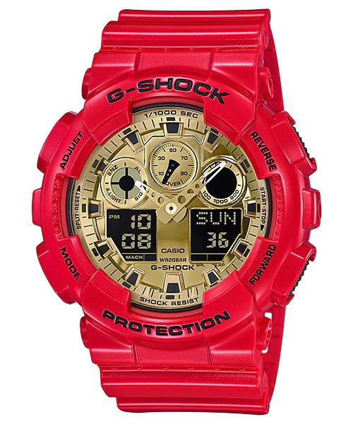 100% Original CASIO G-SHOCK GA-100VLA-4A RED × GOLD