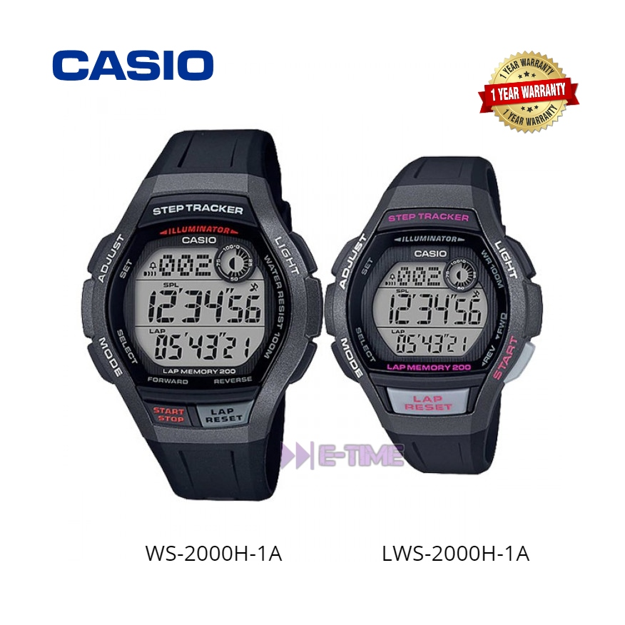 100% ORIGINAL CASIO WS-2000H-1A LWS-2000H-1A COUPLE STEP TRACKER SPORT