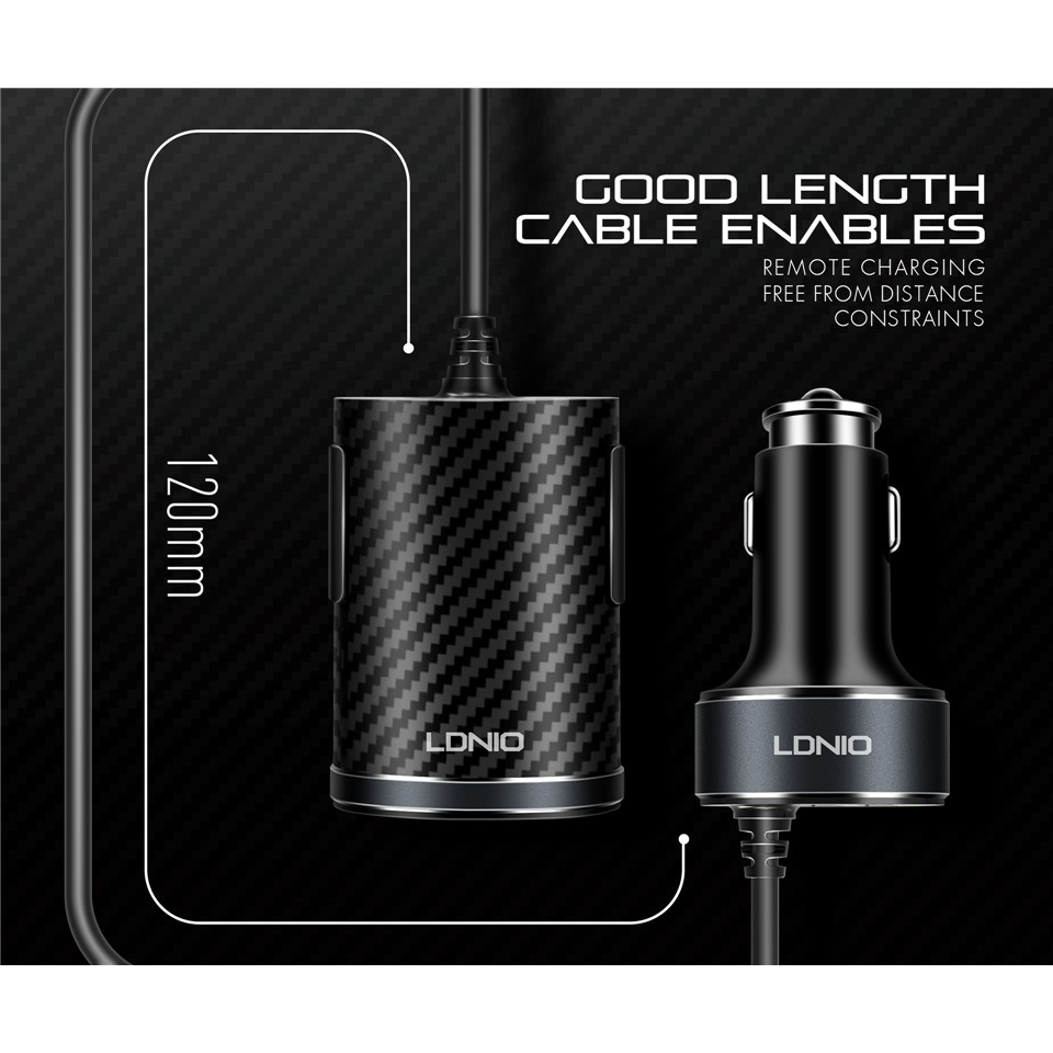100 % Original LDNIO C502 5.1A 4 Ports USB Car Charger With Extension Cable
