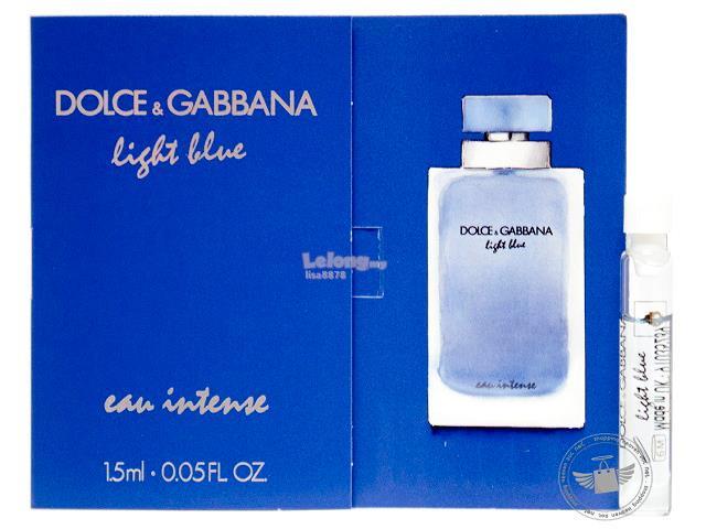 ec4f4c2116b71  100% Original Perfume Vials D G Light Blue Eau Intense Women 1.5ml x2. ‹ ›