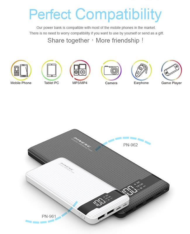 100% ORIGINAL PINENG POWER BANK PN-962 20000mAh POWERBANK PN962