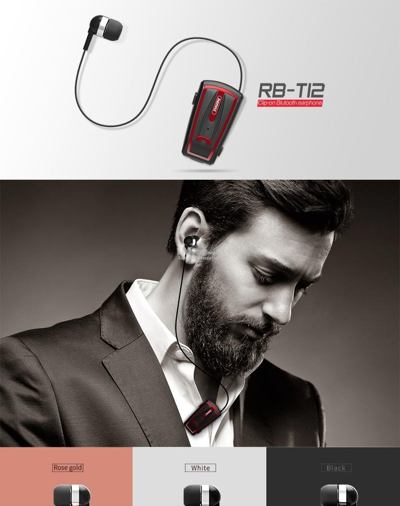 100% ORiginal Remax RB-T12 Sports Clip-On Bluetooth Headset Wireless