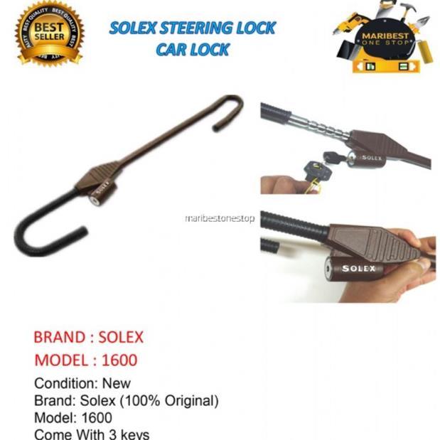 100 ORIGINAL SOLEX PREMIUM CAR STEERING LOCK NO1600
