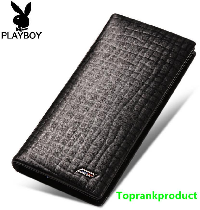 100% Playboy Cow Leather Man's Long Wallet Card Slot Money Clips Bag