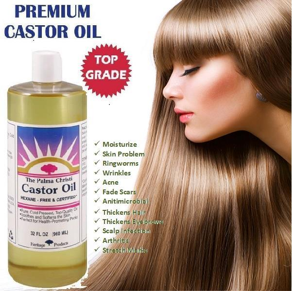 100% Pure Castor Oil, Cold Pressed, Made in USA (960ml)