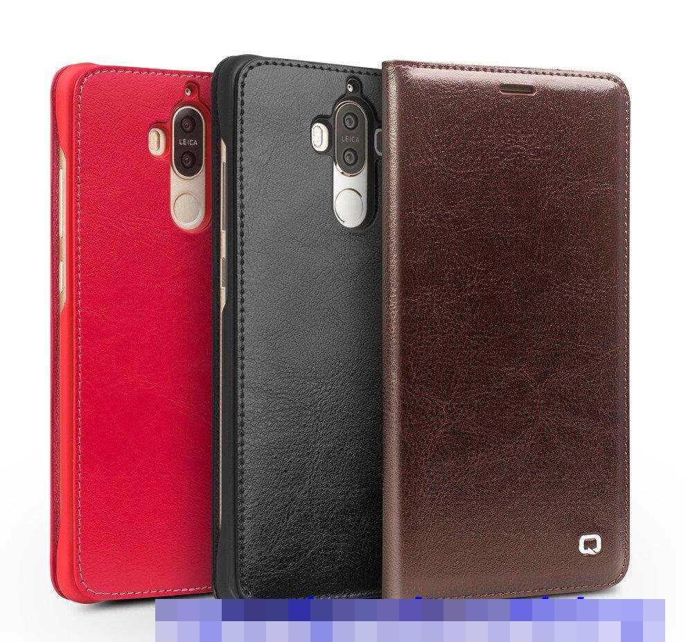 100% QIALINO Huawei Mate 9 Flip Genuine Leather Case Cover Casing