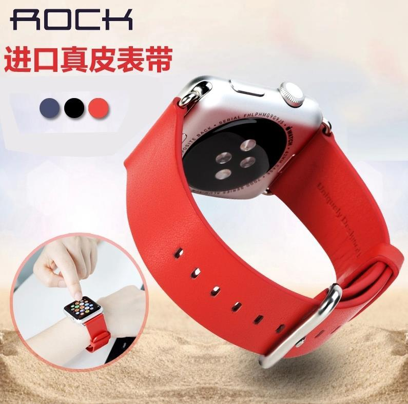 100% Rock Cow Leather Buckle Watchband for Apple Watch 42mm 38mm