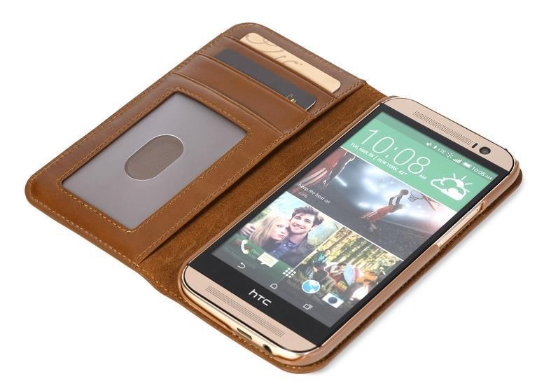 100% Rock Cow Leather HTC One M8 Flip Card Slot Cover Case Casing