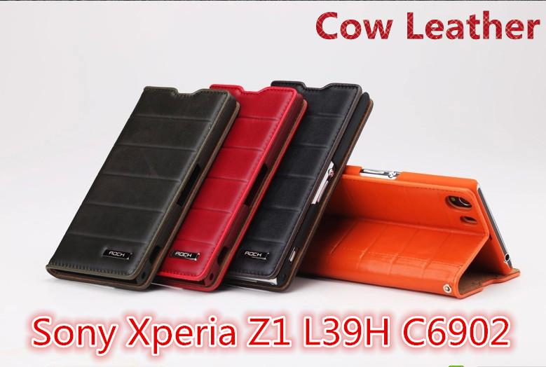 100% ROCK Cow Leather Sony Xperia Z1 L39H C6902 Flip Case Cover