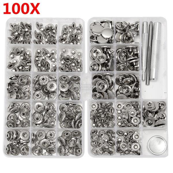 100 Sets 15mm Silver Snap Fasteners Popper Press Buttons with Installa