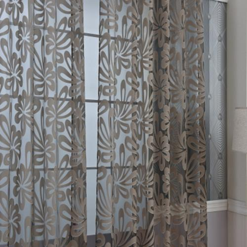 100 X 250CM EUROPEAN FLOWER PRINTED TULLE WINDOW CURTAINS HOME DECOR (COFFEE)