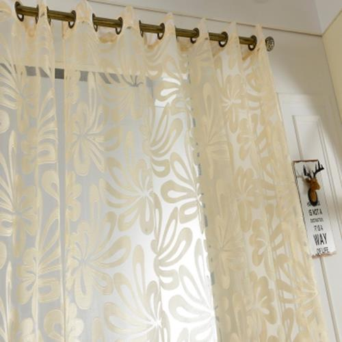 100 X 250CM EUROPEAN FLOWER PRINTED TULLE WINDOW CURTAINS HOME DECOR (YELLOW)