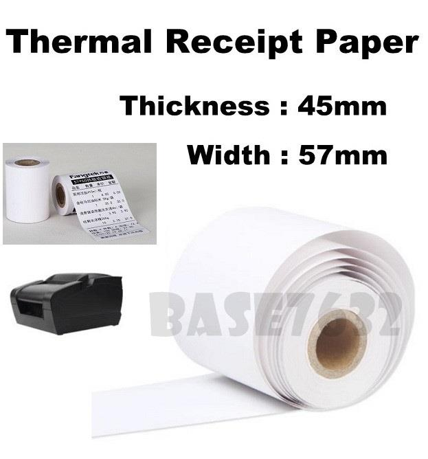 100 x Rolls 57mm 5.7cm Thermal Receipt White Paper Roll 57*45mm 1943.1