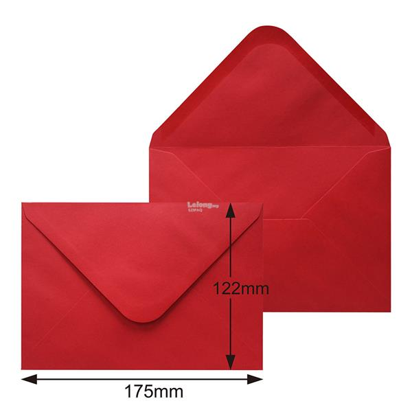 100g 175X122mm RED Gummed Envelope (100pcs)