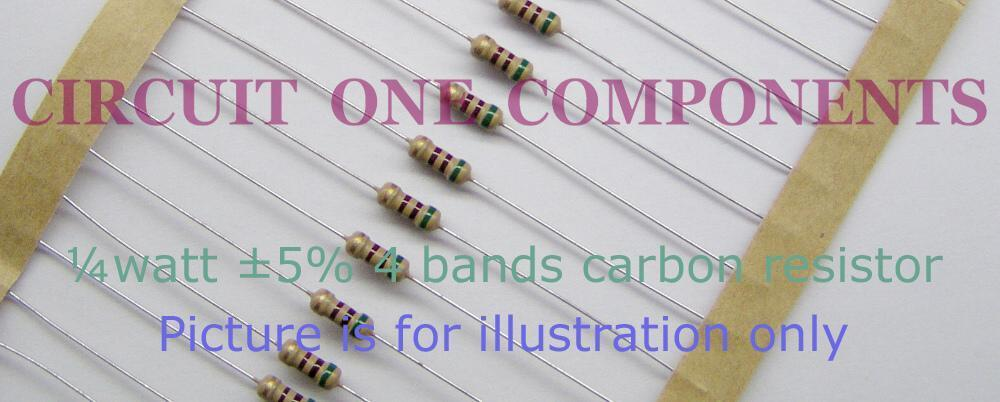 100K 5% 1/4 watt Carbon Resistor - Each