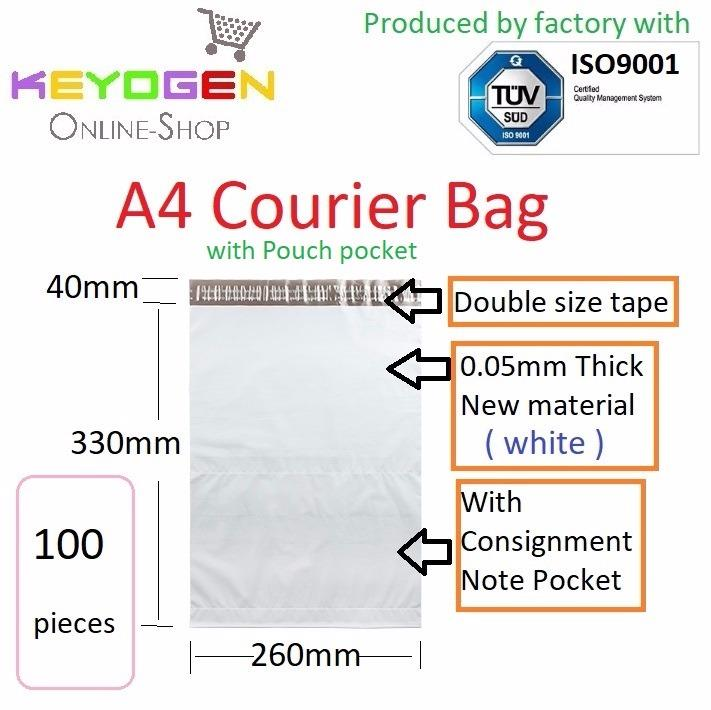 100pcs A4 size Courier plastic Flyer pouch Mailer Bag Packing -white