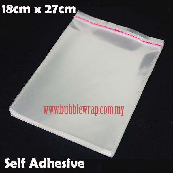 100pcs OPP Bag 18x27cm Self Adhesive Transparent Plastic Bag