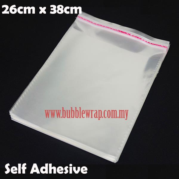 100pcs OPP Bag 26x38cm Self Adhesive Transparent Plastic Bag