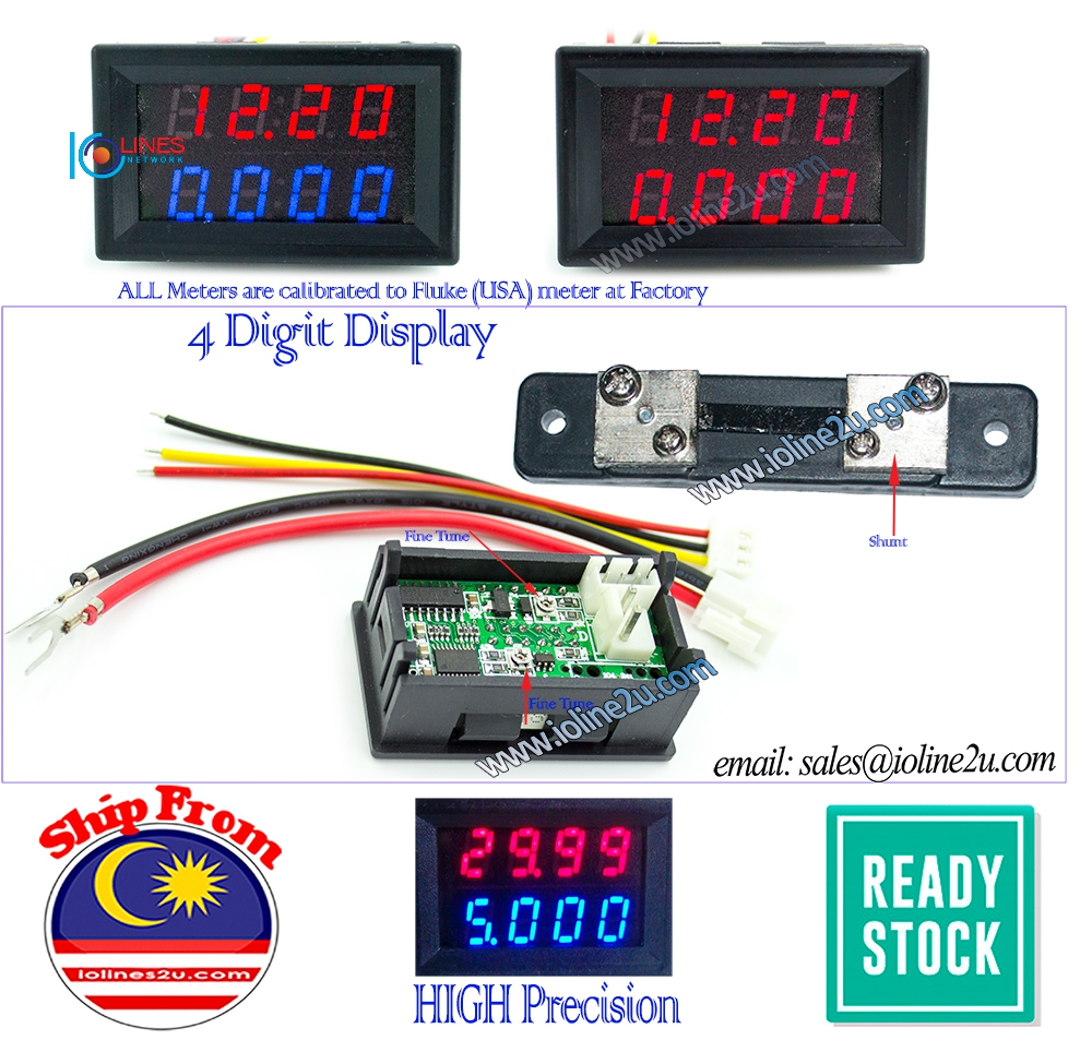 100V DC 4 Digit 5A/10A Precision Dual Display voltage+Current meter Voltmeter