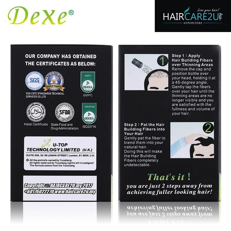 10g Dexe Hair Building Fibers (FREE 180ml Rising Up Hair Spray)