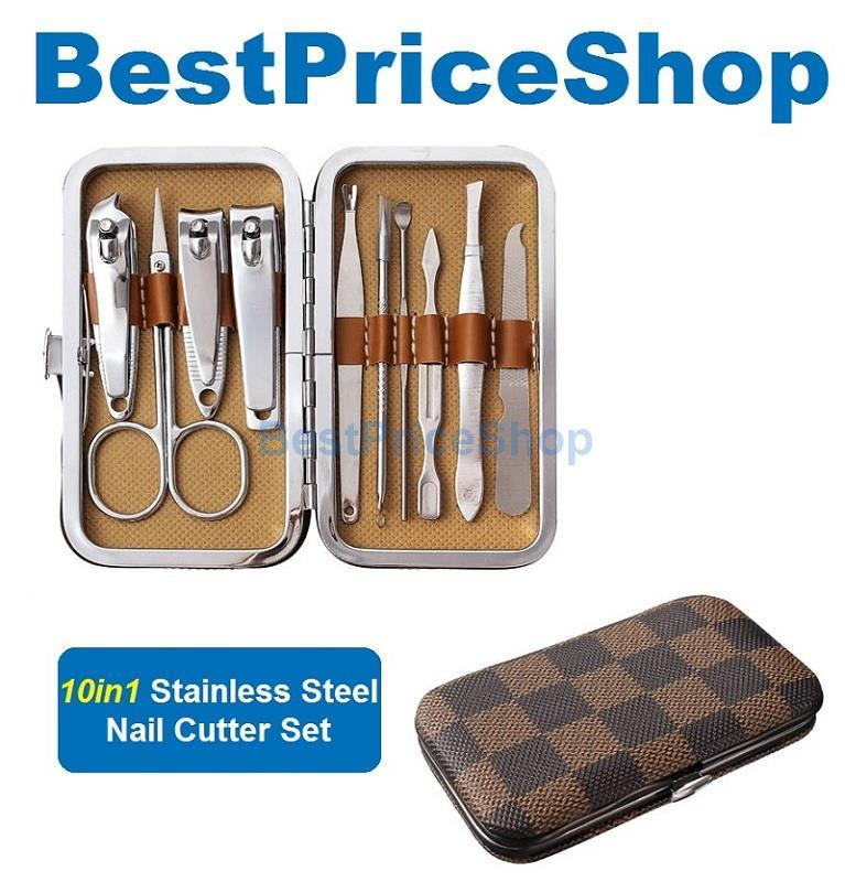 10in1 Stainless Steel Nail Cutter Set Nail Care Manicure Pedicure Kit