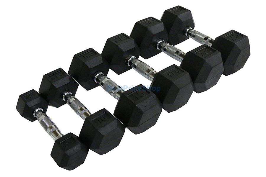 10kg Premium Rubber Coated Iron Hexagon Dumbbell Chrome Weight Lifting