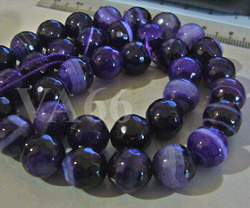 10mm Purple Dyed White Jade Line Gemstone Beads Facetted Round for Cra..