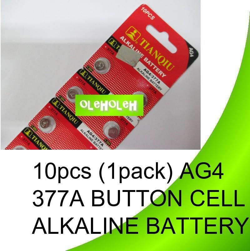10pcs (1pack) AG4 377A Button cell Alkaline Battery