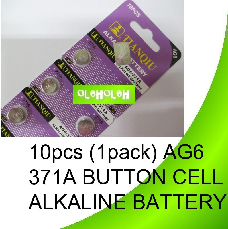 10pcs (1pack) AG6 371A Button cell Alkaline Battery