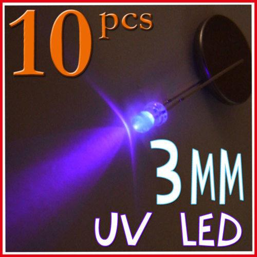 10Pcs 3mm Purple UV Color Water Clear LED Light