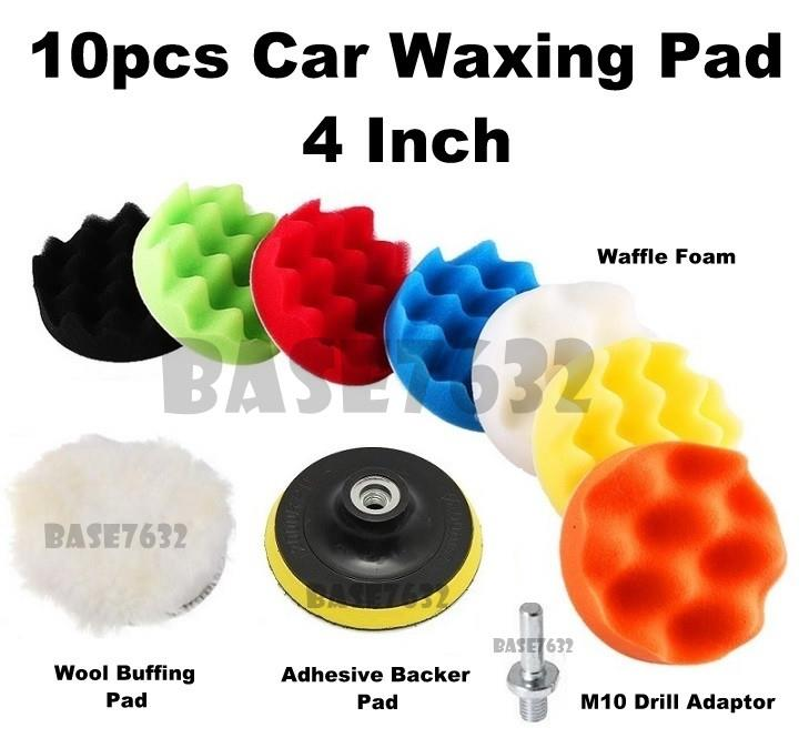 10pcs  4 Inch Car Polishing Waxing Buffing Wax Foam Sponge Pad Kit Set