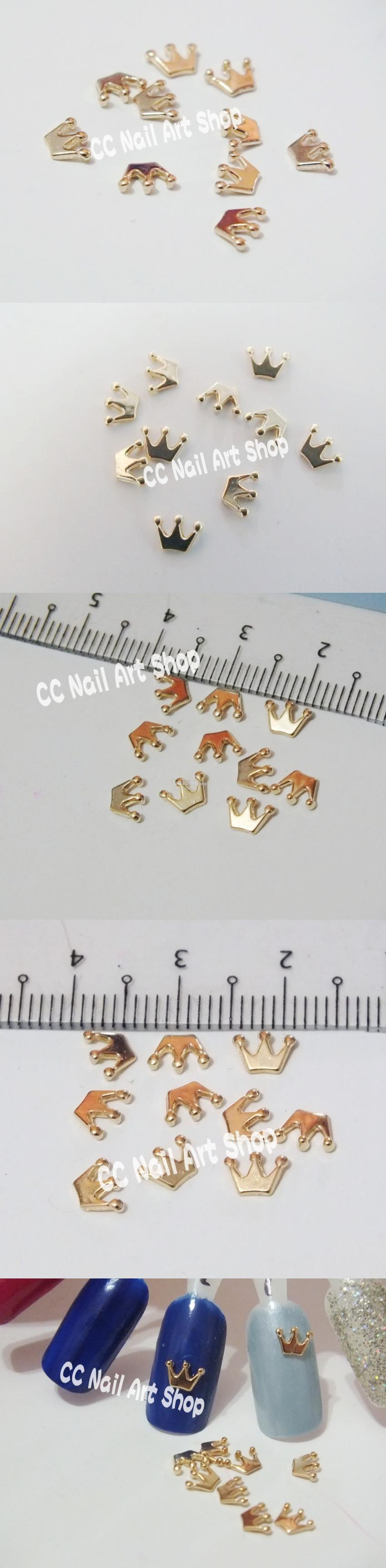 10pcs Gold Crown Nail Art Decoration Metal