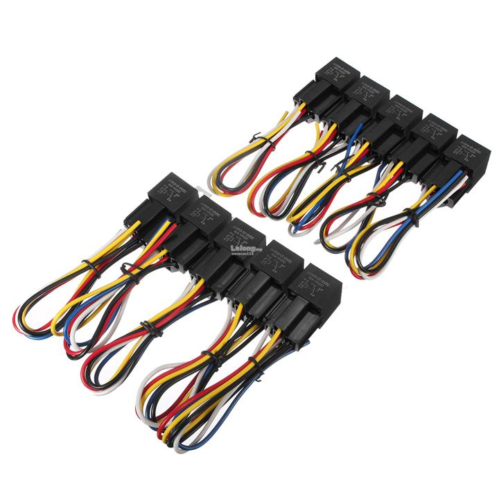 10pcs Interlocking 5 Pin Sockets 12V 40A Waterproof SPDT