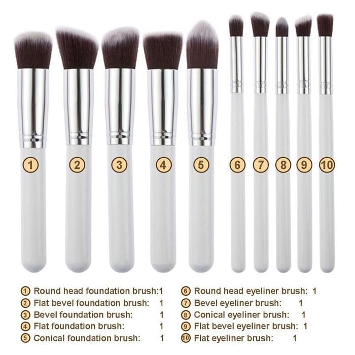 10pcs KABUKI Makeup Brushes (CODE: WHITE) [Fully synthetic hair]