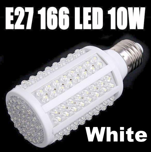 10W 166 LED E27 Corn Led Light Bulb Lamp Cool White NEW