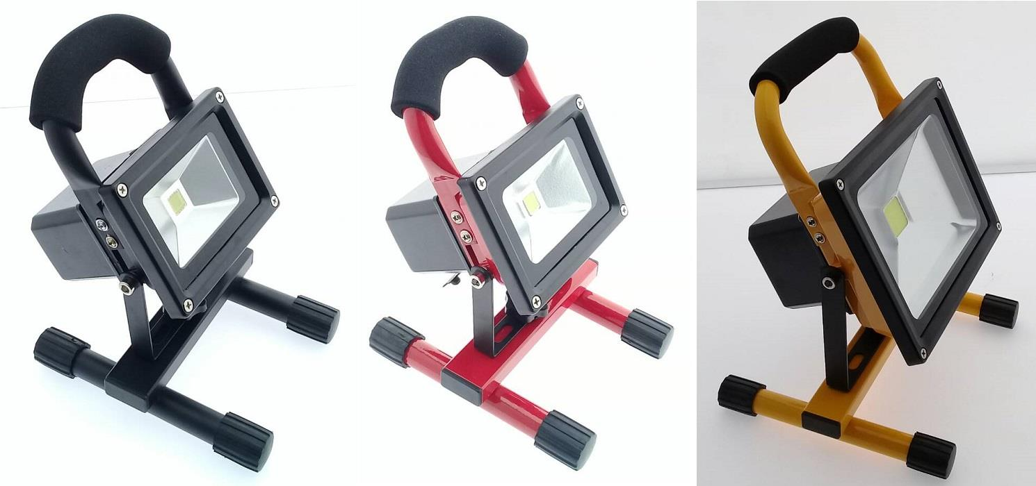 10W Portable LED Flood Light (Yellow, Black, Red)