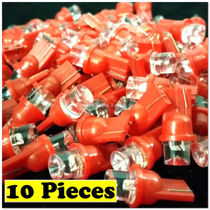 [ 10x RED T10 LED Light Bulb 501 W5W Wedge Lamp Concave Top