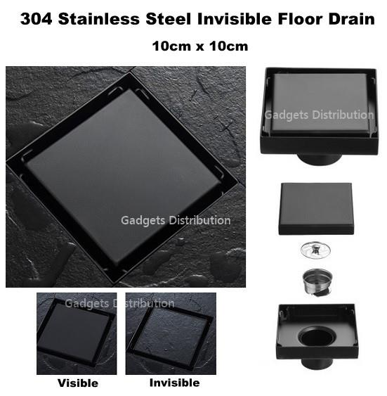 10x10 Invisible 304 Stainless Steel Black Odorless Floor Drain 2630.1