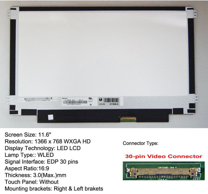 "New 11.6 "" B116XTN02.3 Laptop WXGA HD 1366x768 LED LCD Screen 30PIN"