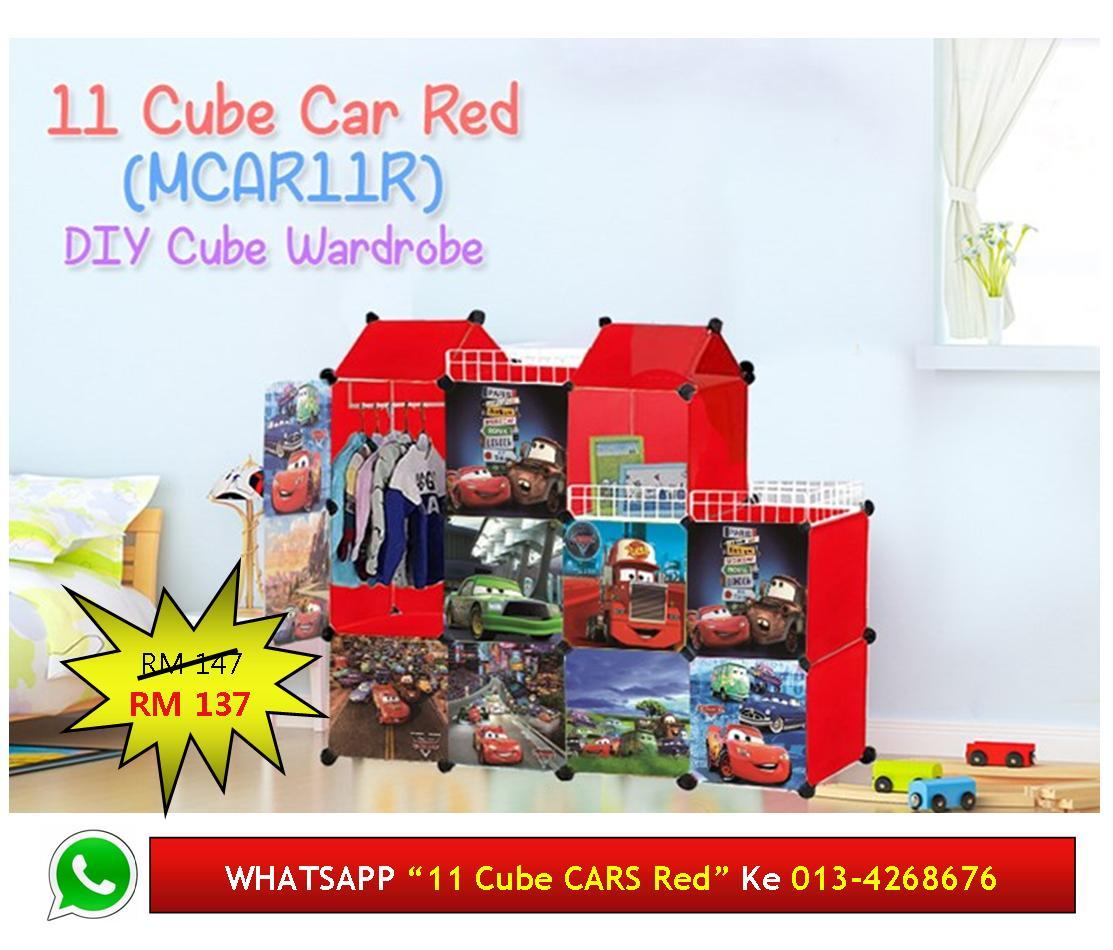 "11 Cube DIY Wardrobe Almari Kartun ""DISNEY PIXAR CARS"" Red"