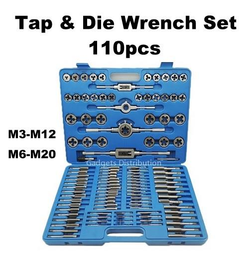 110pcs Metric M3-M12 M6-M20 Tap and Die Screw Thread Plug Tool 2452.1