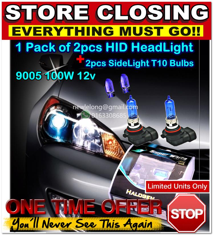 [1123] 9005 100W 12V Blue White Hid Headlight Halogen Bulbs Kobo Xenon