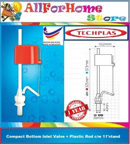 No.1154 TECHPLAS Compact Bottom Inlet Valve + Plastic Rod c/w 11'stand