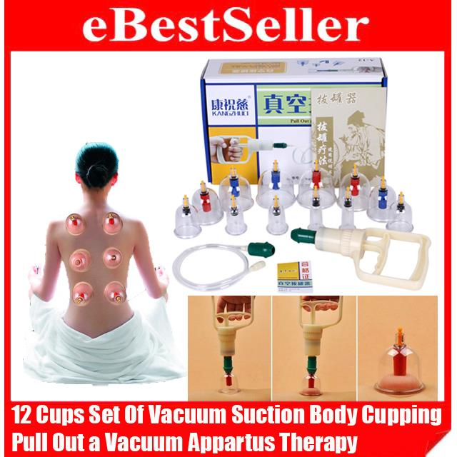 12 Cups PullOut Vacuum Apparatus Body Suction Relax Cupping Therapy